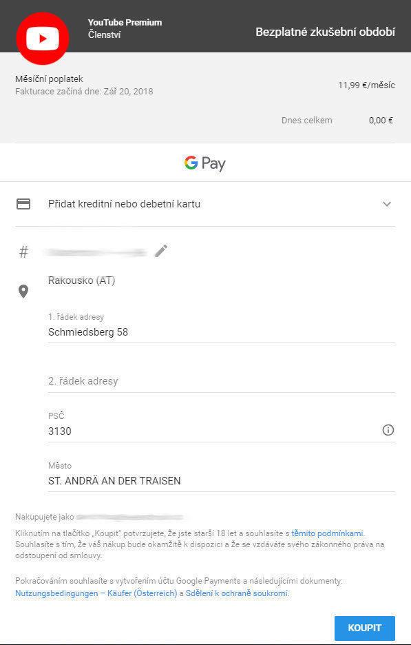youtube premium bezplatne clenstvi platba