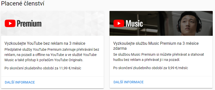 youtube premium youtube music cz