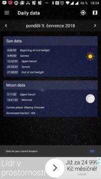 Časy východu a západu Slunce a Měsíce Sky Events