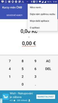 Kontextová nabídka Česká koruna