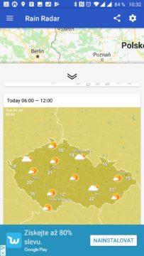 Rain Radar Lokální krátkodobá prognóza