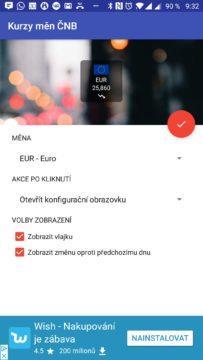 Možnosti widgetu Česká koruna