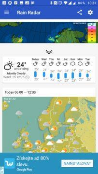 Rain Radar Předpověď počasí na týden
