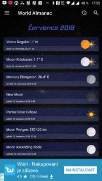 Přehled astronomických událostí na červenec Sky Events