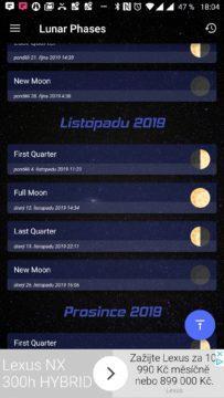 Přehled měsíčních fází Sky Events
