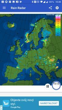 Pohled na situaci v Evropě Rain Radar