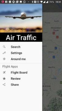 Postranní nabídka Air Traffic