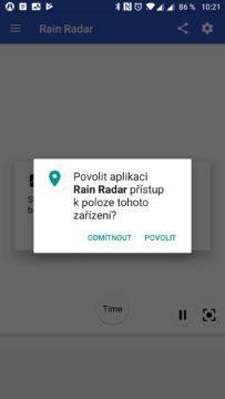 Rain Radar chce přístup k poloze