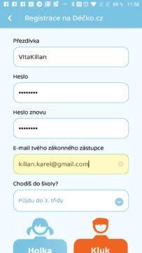 Registrace účtu z aplikace Sežeňte ovečky