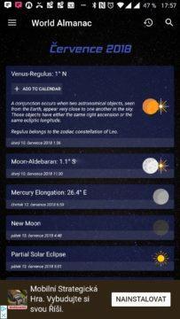 Sky Events Vysvětlení zvoleného astronomického jevu