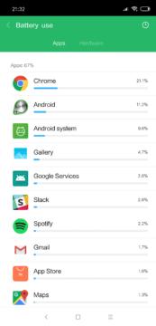 Xiaomi Mi 8 baterie vyuziti aplikaci