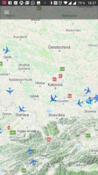 Zobrazení letadel v aplikaci Air Traffic