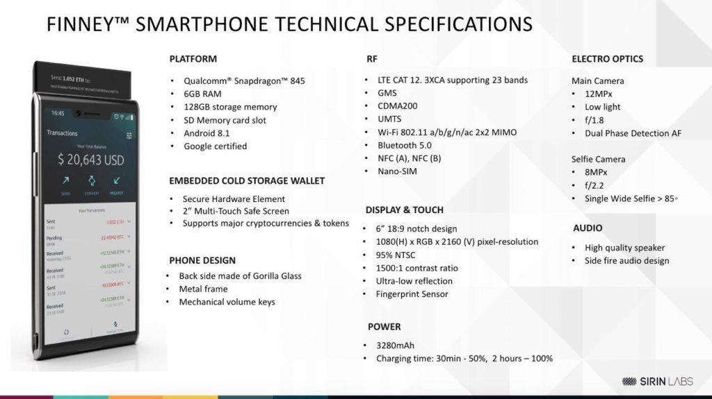 finney smartphone blockchainové telefony