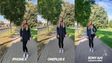 modelka na chodniku fototest oneplus 6 vs iphone X