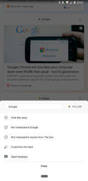 rozhrani google feed novy design