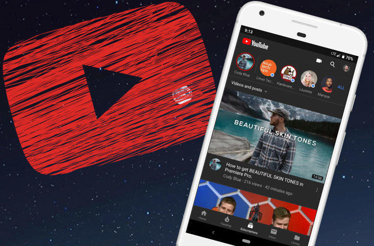 tmavy vzhled android youtube