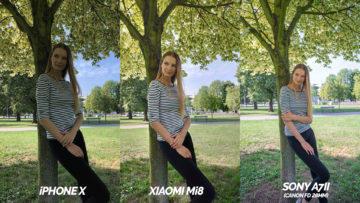 xiaomi mi 8 vs iphone x porovnani fotoaparatu modelka u stromu