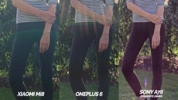 xiaomi mi 8 vs oneplus 6 vs sony A7ii porovnaní osoba
