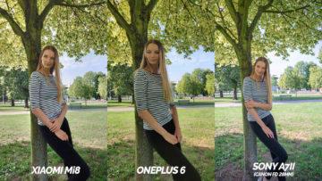 zrcadlovka vs oneplus 6 vs xiaomi mi 8 fototest - modelka u stromu