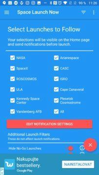 Filtrování plánovaných letů Space Launch Now