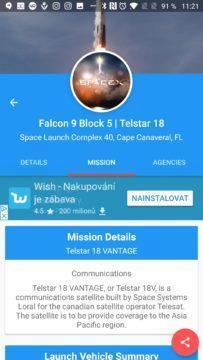 Informace o plánované misi Space Launch Now
