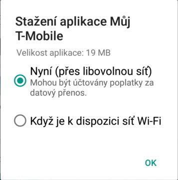 Při pokusu o stažení aplikace přes mobilní data Obchod Play zeptá