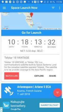 Tlačítko Watch Live pro přímý přenos Space Launch Now