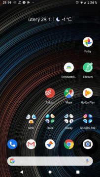 Android 9 Pie domovská obrazovka