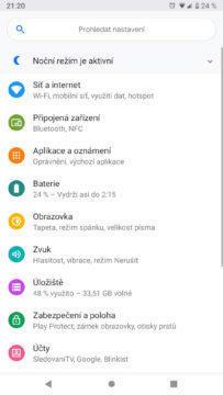 Android 9 Pie nastaveni