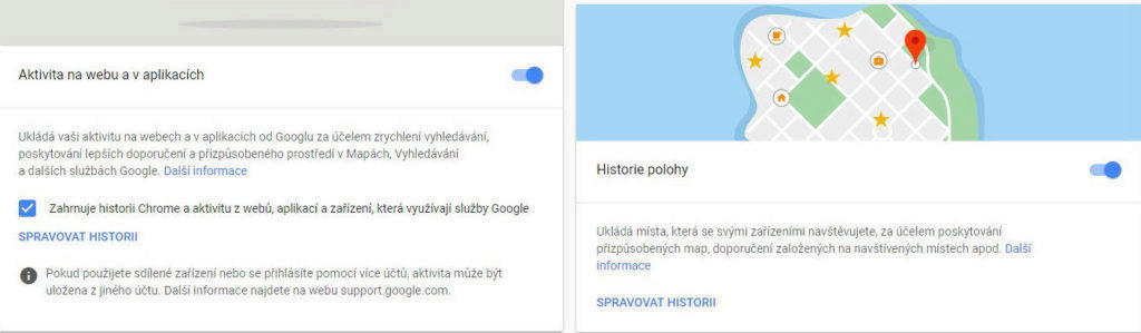 historie polohy a vypnuti aktivity google ucet nastaveni