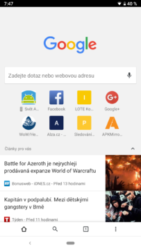 spodni lista chrome prohlizec