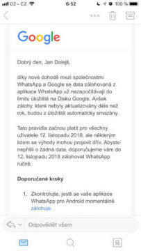 whatsapp google disk oznameni limit