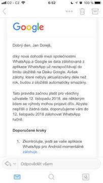 whatsapp google disk oznameni limit