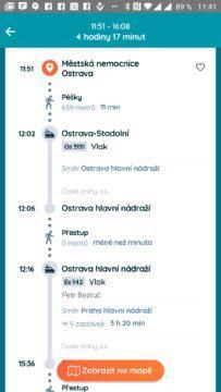 Detail spojení z Ostravy do Prahy