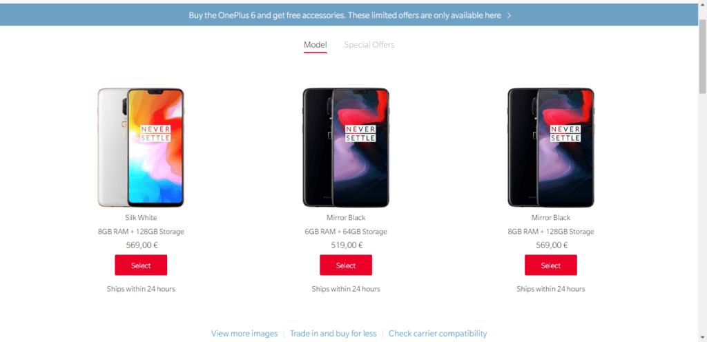 OnePlus prodává své telefony na svém webu