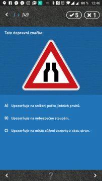 Zkoušení otázek z dopravních značek