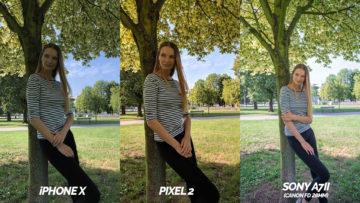 který telefon fotí lépe - pixel 2 vs iphone X modelka opřená o strom