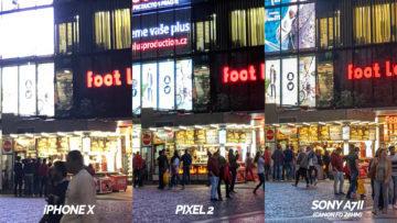nocni fotografie ulice detail testovani telefony pixel 2 vs iphone X