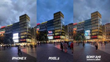 nocni ulice google pixel 2 vs iphone X