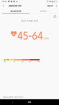 srdecni tep samsung health