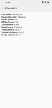 testovaci menu androidu test baterie