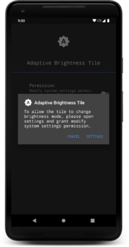 Adaptive Brightness Tile aplikace
