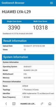 Huawei Kirin 980 výsledek testu Geekbench
