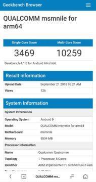 Qualcomm Snapdragon 855 výsledek testu Geekbench