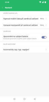 aplikace optimalizace nastaveni zapnuti vypnuti