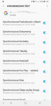 synchronizace uctu sluzby google play