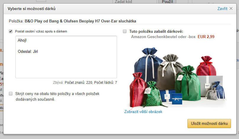 Amazon jak nakupovat - dárkový obal
