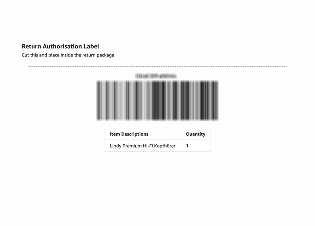 Jak reklamovat na Amazon - return authorisation label