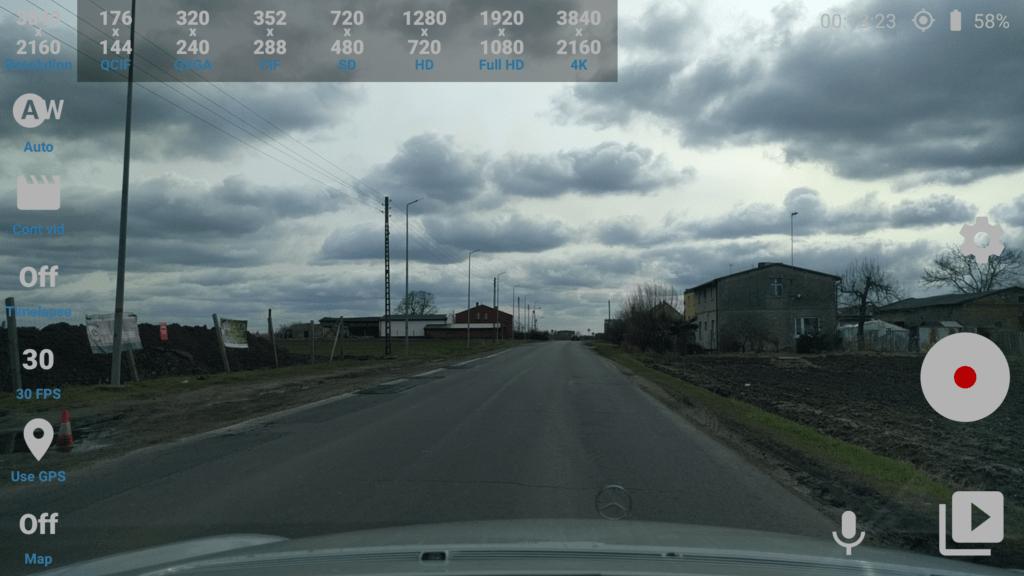 Prostředí aplikace Car Camera