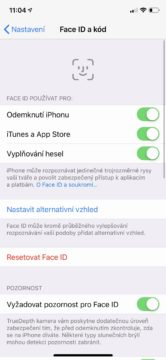 iPhone XS odemykání obličejem